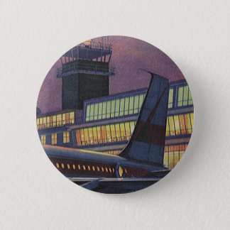 Vintage Business Passengers on Airplane at Airport 6 Cm Round Badge