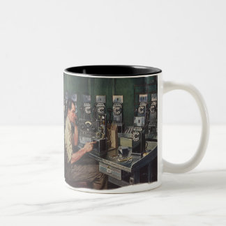 Vintage Business, Pay Phone Telephone Repairman Two-Tone Coffee Mug
