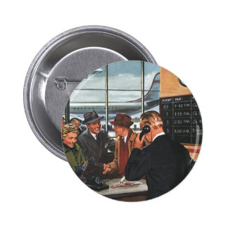 Vintage Business, People at Airline Ticket Counter 6 Cm Round Badge