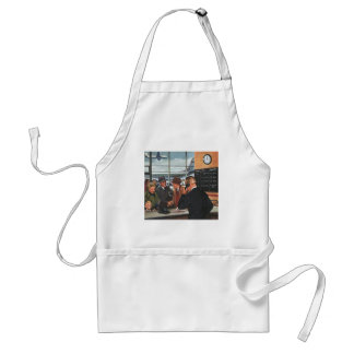 Vintage Business, People at Airline Ticket Counter Standard Apron