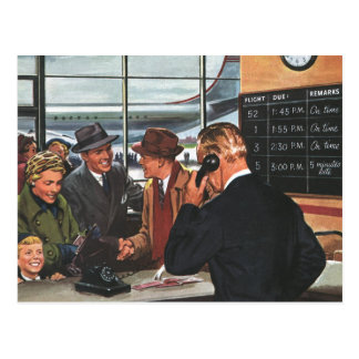 Vintage Business, People at Airline Ticket Counter Postcard