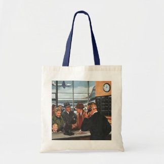 Vintage Business, People at Airline Ticket Counter Budget Tote Bag