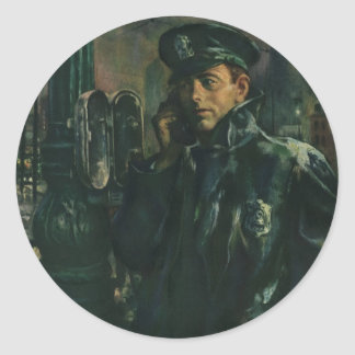 Vintage Business, Policeman on Emergency Phone Classic Round Sticker