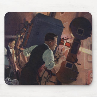 Vintage Business, Projectionist in a Movie Theater Mouse Pad