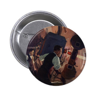 Vintage Business, Projectionist in a Movie Theatre 6 Cm Round Badge