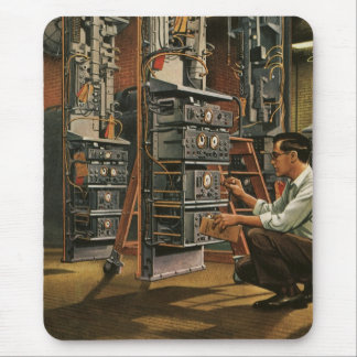 Vintage Business Radio Technician Fixing Equipment Mouse Pad
