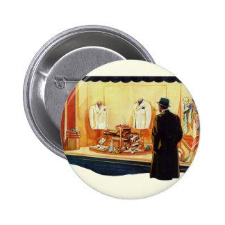 Vintage Business Retail, Man Window Shopping Store 6 Cm Round Badge
