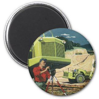 Vintage Business, Surveyor on a Construction Site 6 Cm Round Magnet