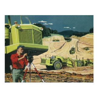 Vintage Business, Surveyor on a Construction Site Postcards