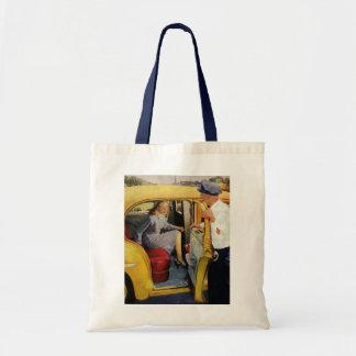 Vintage Business, Taxi Cab Driver Woman Passenger