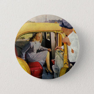 Vintage Business, Taxi Cab Driver Woman Passenger 6 Cm Round Badge