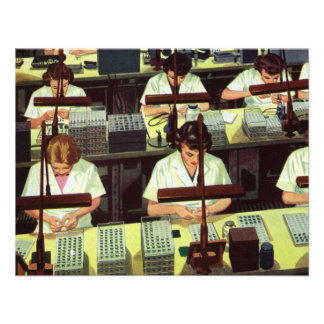 Vintage Business, Telephone Assembly Line Workers Personalized Invites