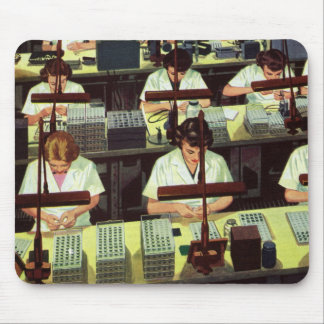 Vintage Business, Telephone Assembly Line Workers Mouse Pad