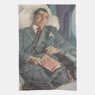 Vintage Business Traveler Reading on the Airplane Kitchen Towel