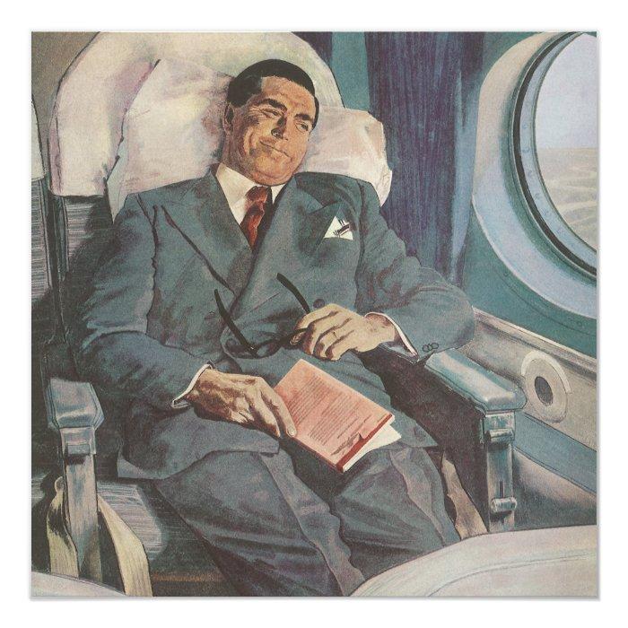 Vintage Business Traveller Reading on the 13 Cm X 13 Cm Square Invitation Card