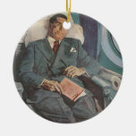 Vintage Business Traveller Reading on the Aeroplan Ornament