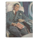 Vintage Business Traveller Reading on the Aeroplan Spiral Note Books