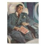 Vintage Business Traveller Reading on the Aeroplan Postcards