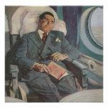 Vintage Business Traveller Reading on the Aeroplan Posters