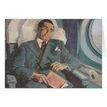 Vintage Business Traveller Reading on the Greeting Card