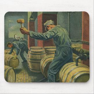 Vintage Business, Wine Making Corking Wine Barrels Mouse Pad