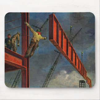 Vintage Business, Workers on Steel Construction Mouse Pad
