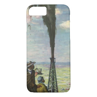 Vintage Business, Workers with Gushing Oil Well iPhone 7 Case