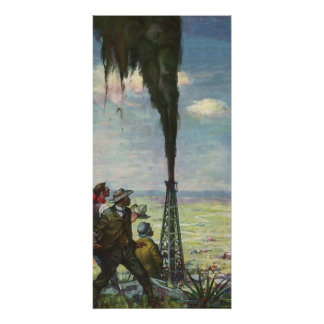 Vintage Business, Workers with Gushing Oil Well Poster