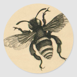 Vintage busy bee classic round sticker