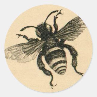 Vintage busy bee round sticker