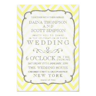 Vintage Butter Yellow Chevron Stripes Wedding 13 Cm X 18 Cm Invitation Card