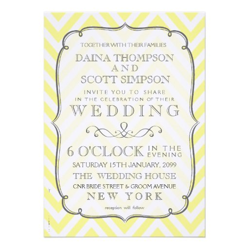 Vintage Butter Yellow Chevron Stripes Wedding Personalized Invitation