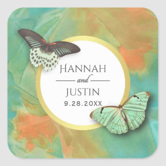 Vintage Butterflies and Southwest Colors Wedding Square Sticker