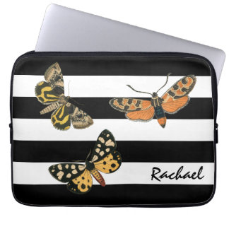 Vintage Butterflies and Stripes with Monogram Laptop Computer Sleeves
