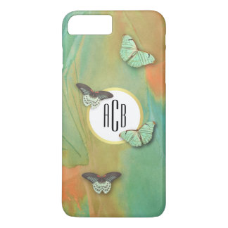 Vintage Butterflies Pattern with Monogram iPhone 7 Plus Case