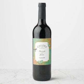 Vintage Butterflies Southwest Colors Wedding Wine Label