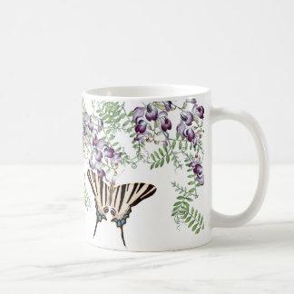 Vintage Butterflies Wildflower Vetch Flowers Mug