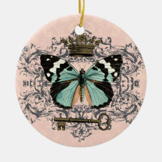 Vintage Butterfly and Crown ornament
