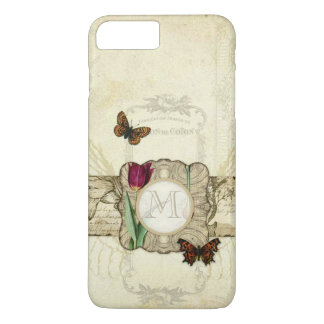 Vintage Butterfly Angel Wings Tulip Swirl Monogram iPhone 7 Plus Case