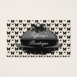 Vintage Butterfly Damask Fashion Business Card