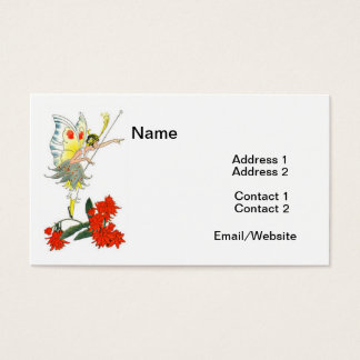 Vintage Butterfly Fairy & Flowers Business Card
