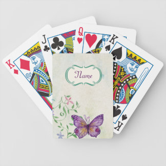 Vintage Butterfly Floral Bicycle Playing Cards