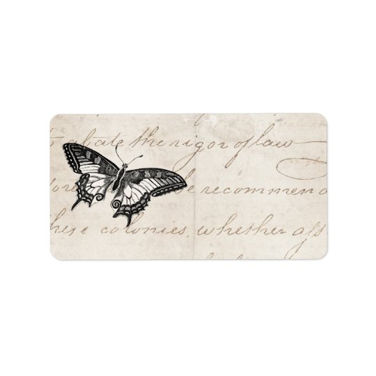 Vintage Butterfly Illustration 1800's Butterflies Address Label