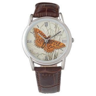 Vintage Butterfly Illustration, Deep Orange Watch