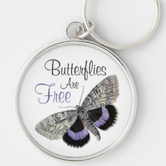 Vintage Butterfly illustration -Keychain Silver-Colored Round Key Ring