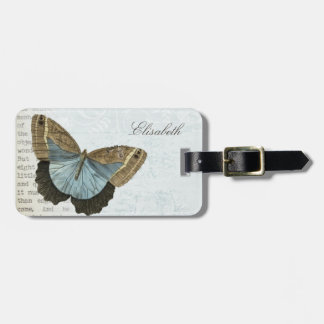 Vintage butterfly illustration name luggage tag