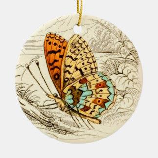 Vintage Butterfly Illustration, Orange and Beige Ceramic Ornament
