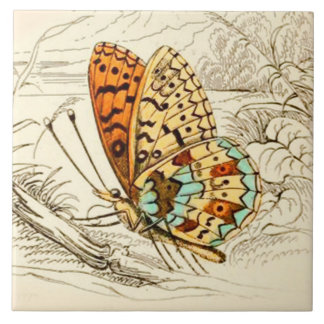 Vintage Butterfly Illustration, Orange and Beige Tile