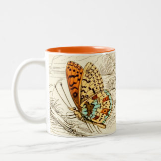 Vintage Butterfly Illustration, Orange and Beige Two-Tone Coffee Mug