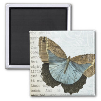 Vintage butterfly illustration square magnet